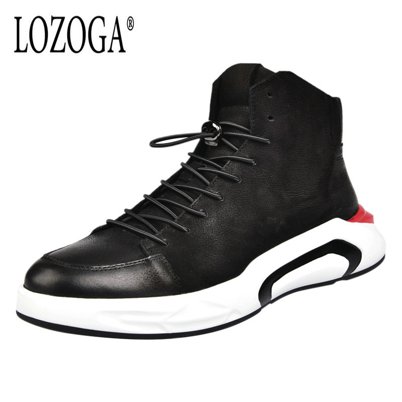 Lozoga Men Luxury Boots 100% Genuine Leather Brand Sneaker Shoes Mens Ankle Boots Handmade Casual Boot Shoes Lace-Up Black Flats new 28 color casual boot genuine leather flats shoes shoelace shoes boot lace shoes strap shoeslaces 500pairs lot via dhl ems