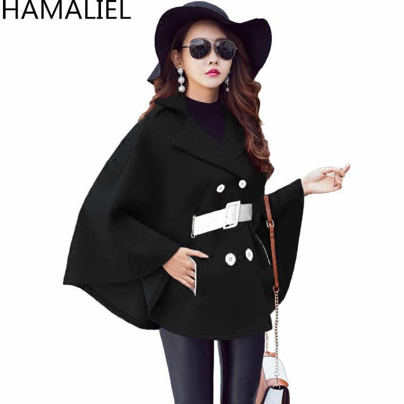 Подиумное черное пончо накидка зимнее пальто 2018 модное женское Шерстяное твидовое плотное пальто с рукавами летучая мышь с отложным воротником теплое шерстяное пальто