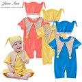 Bebé de algodón traje de payaso traje de verano de manga corta romper + hat 3 colores infantiles de halloween festival purim fotografía del bebé traje