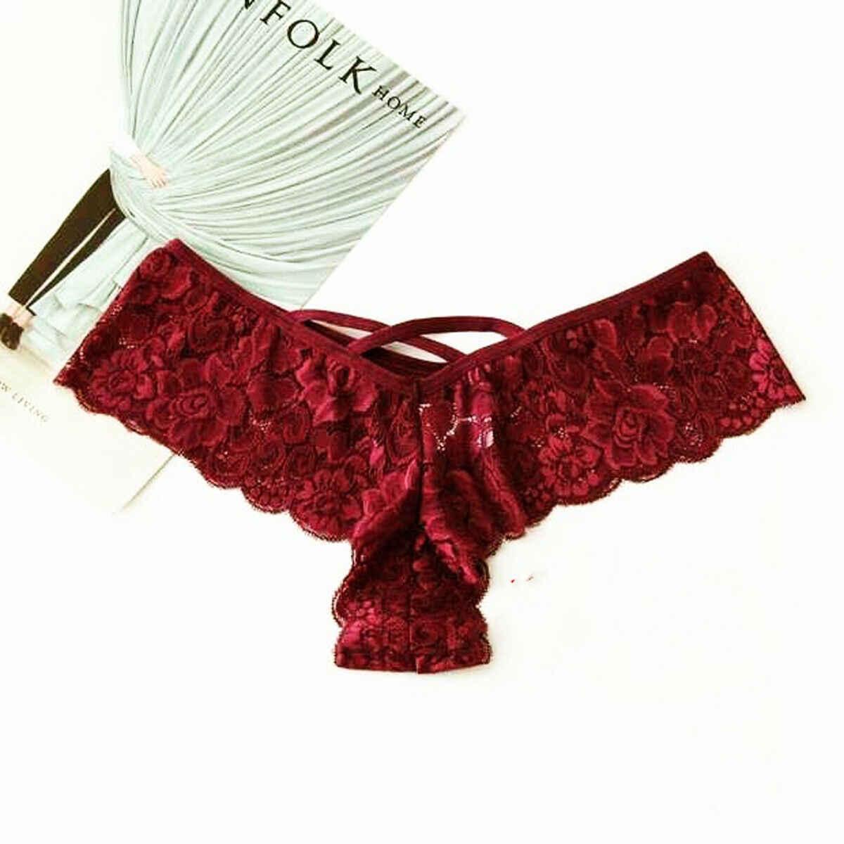 Gợi Cảm Đùi Quần Lót Nữ Không Đường May Quần Lót Ren Bikini Hình Ngón Chữ G Underpant Quần Đùi Tanga Nữ Thông S-3XL