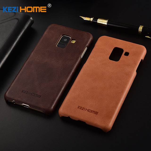 los angeles 14b6f f904f US $9.63 10% OFF|for Samsung Galaxy A8 Plus 2018 case KEZiHOME Frosted  Genuine Leather Hard Back Cover For Samsung A8+ 2018 6.0'' Phone cases-in  ...