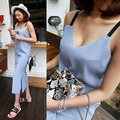 [XITAO] new autumn Korean sexy style solid color stripe off the shoulder V-neck sleeveless straight form female dress ZAB-001