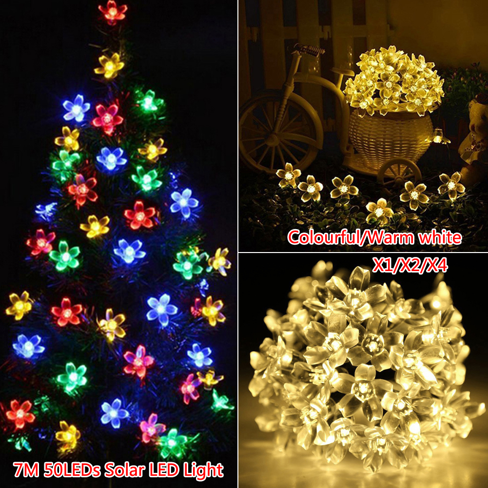 50LED 7M Waterproof Decorative Blossom Globe Solar Powered LED String  Lights Outdoor Garden Patio Lantern Decoration Lightings In Lighting  Strings From ...