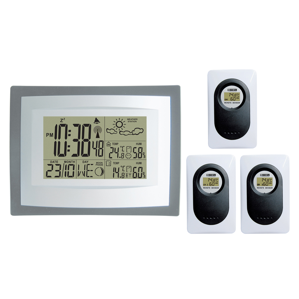 DYKIE 433MHz Wireless Weather Station Digital Indoor Outdoor Thermometer Hygrometer Clock Temperature Humidity 3 Transmitters