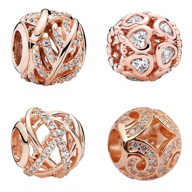 96b132a27a23bd Rose Gold Love Heart Bonds Shimmering Feather Galaxy Cloud Lace Beads Fit  Pandora Bracelet 925 Sterling Silver Charm Jewelry