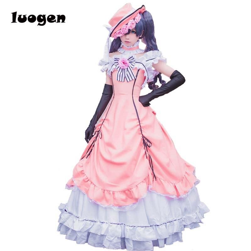 Anime Black Butler Ciel Phantomhive Cosplay Dress Gothic Lolita Long Dresses Full Set Princess Clothing Costume With Hat Glove