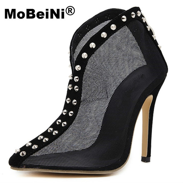 MoBeiNi New Summer Elegant Womens Sandals Cut Out Mesh Gladiator Rome High heels Sandals Woman Black Sexy Fashion Rivet Shoes