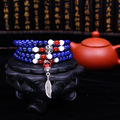 108 Buddha Prayer Beads Natural Lapis And Agate Stone beaded Strand Bracelets For Women And Men Tibetan Rosary