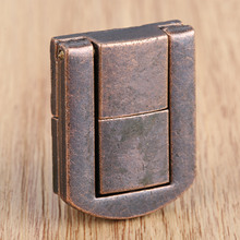 1Pc Box Latch Clasp Red Copper Locked Buckles Antique Zinc Alloy Square Vintage Wooden Wine with Screws 25x30mm