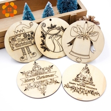 5pcs/lot Creative Christmas Series Engraving Print Pendants Decoration Wood Crafts Tree Ornaments Home Decor Supplies