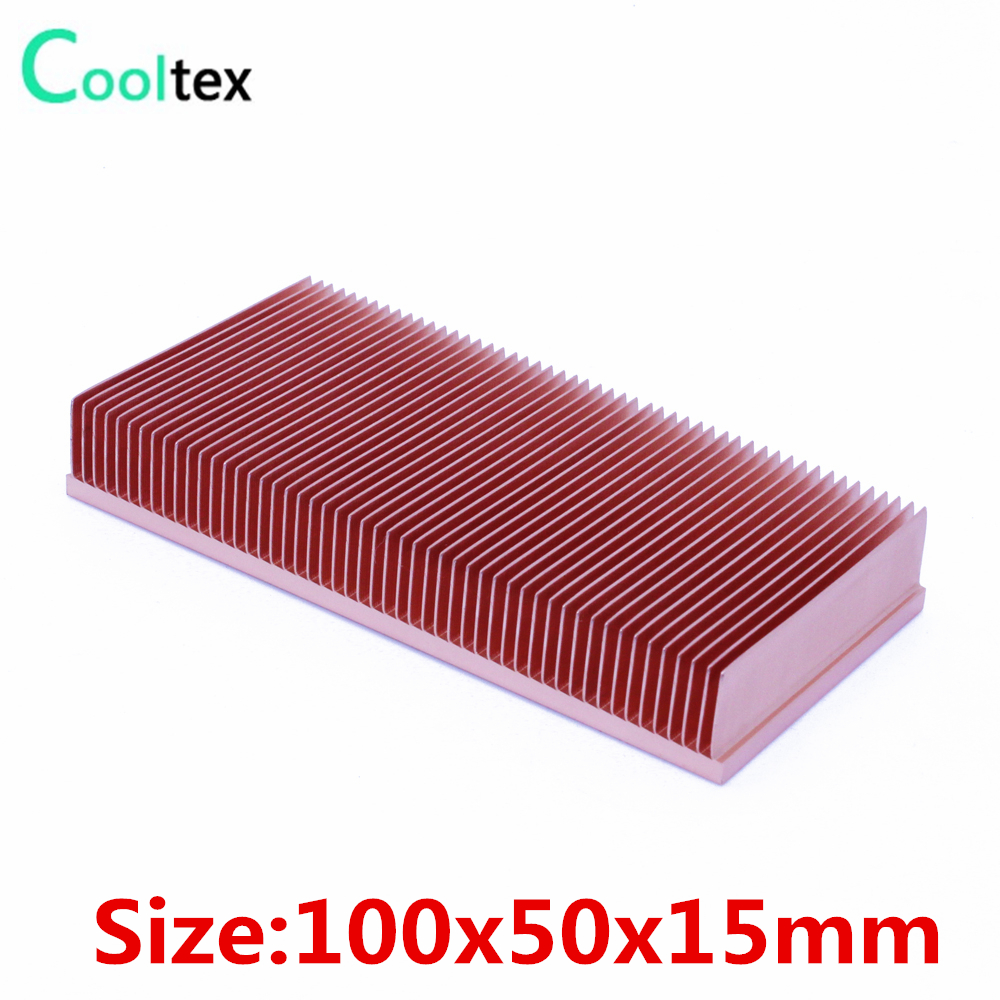 High Quality  Pure Copper Heatsink 100x50x15mm Skiving Fin Heat Sink Radiator for electronic  RAM Chip Led VGA cooling cooler 75 29 3 15 2mm pure copper radiator copper cooling fins copper fin can be diy longer heat sink radiactor fin coliing fin