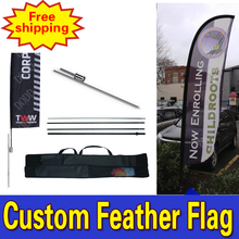 85cm*500cmFREE SHIPPING Promotional Feather Flags with Spike Inground  Single Sided Printing for Outdoor Advertising