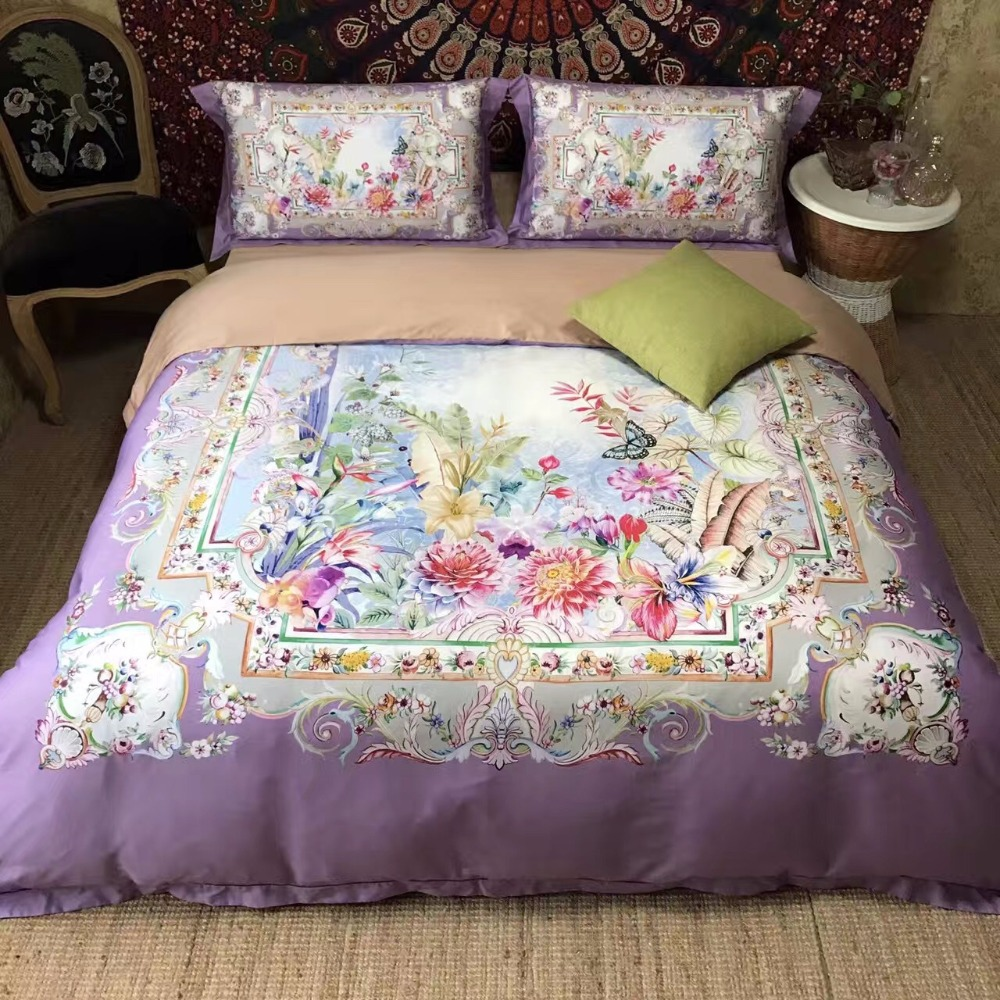 pin flower cottage fragrant cover bright pillowcases set queen cotton duvet bed