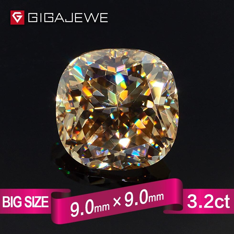 GIGAJEWE Moissanite poduszka Cut złoty VVS1 9X9mm 3.5ct luźny kamień laboratorium diament klejnot piękna biżuteria Making kobiety dziewczyna prezent w Koraliki od Biżuteria i akcesoria na  Grupa 1