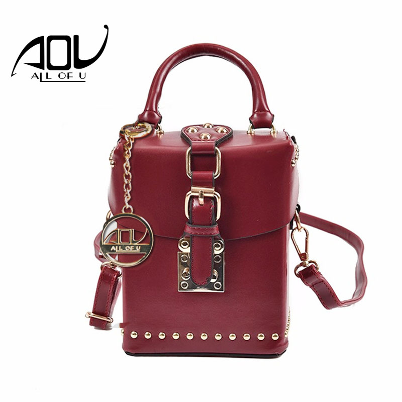 AOU New Women Rivet bags Fashion Box designer Shoulder bag 2018 Ladies Red luxury handbags high