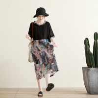 Summer New Arrivals Women Casual Loose Plus Size Vintage Abstract Print Patchwork Comforable Breathable 100% Thin Ramie Dresses