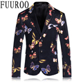 Hombres Blazers 2016 Floral de la mariposa traje Homme Blazer moda Casual Blazers de flores CBJ-T0020