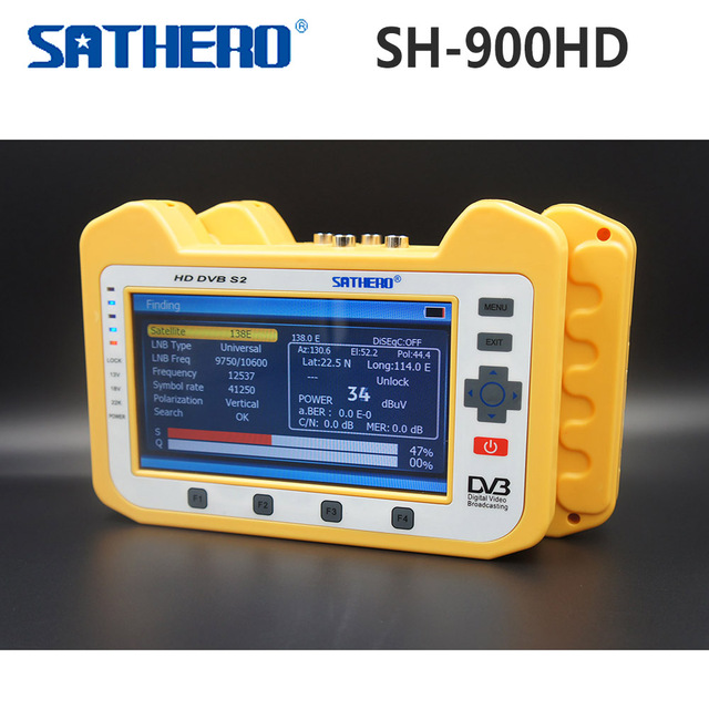 Genuine SH-900HD Sathero DVB-S2 Digital Satellite Finder Medidor com Spectrum Analyzer & Função De Teste De Monitoramento Digital Coaxial