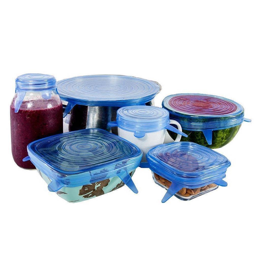 Silicone Stretch Lids 6 PACK Insta of VARIOUS SIZES,flexible Food ...