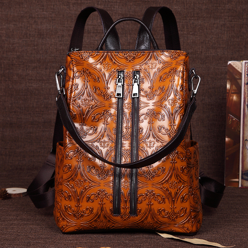 Women Embossed Rucksack First Layer Cowhide Knapsack Girls School Bag Female Daypack Travel Genuine Leather Ladies Backpack New гарнитура edifier m210