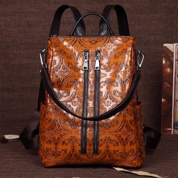 Women Embossed Rucksack First Layer Cowhide Knapsack Girls School Bag Female Daypack Travel Genuine Leather Ladies Backpack New