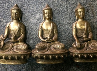 Chinese antique brass Buddhas of Three Per Buddha statue family adornment decoration copper crafts and gifts furnishing articles