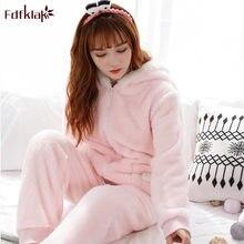 0ee88d4be35e5 Fdfklak Толстая Фланелевая пижама женские пижамы комплект с длинными  рукавами теплая Домашняя одежда зимняя Пижама женские