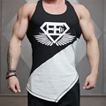 2016 Супермен Singlets Мужские Топы Рубашка, Тренажеры Фитнес мужская Золотые Стрингер Майка Одежда