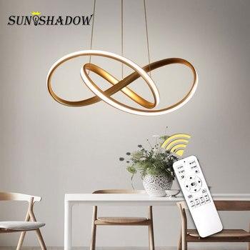 Современный светодиодный подвесной светильник для столовой, кухни, гостиной, алюминиевый подвесной светильник, Подвесная лампа, Золотая по...