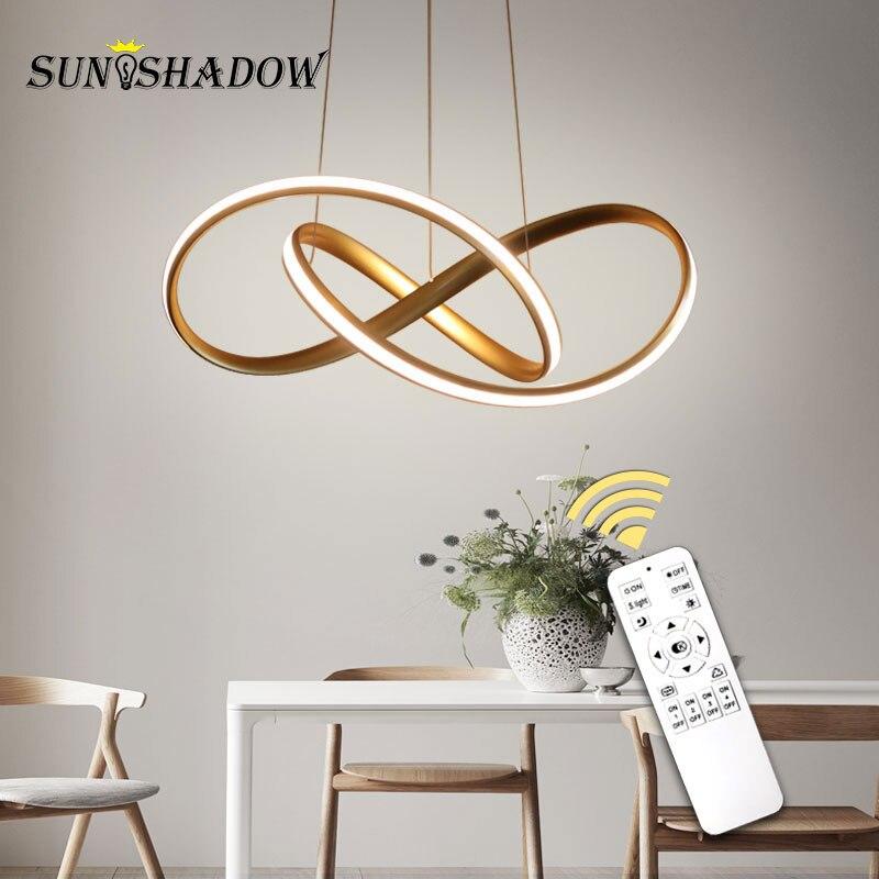 Accueil lampe de pendentif LED moderne pour salon salle à manger lampes suspendues lampes de pendentif LED plafonniers luminaires or & blanc & noir