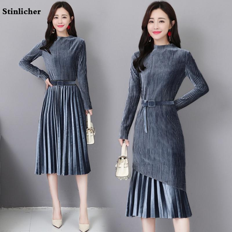Stinlicher Autumn Winter Women Long-Sleeved Dress Plus Size Vintage Pleated Velvet Dress Woman Office Two-piece Suit Dress