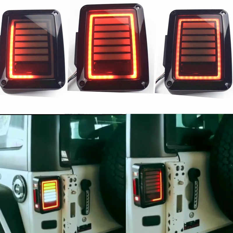 07-16 for Jeep Wrangler LED Tail Lights Rear Brake Reverse Lamps For Sahara, Freedom Rubicon 2007 - 2018 LED Brake Tail Lights
