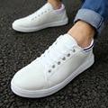 Quality 2016 Summer White Men Shoes Leather Flat Shoes for men Low-top Lace up Chaussures Pure Color zapatillas deportivas XX219