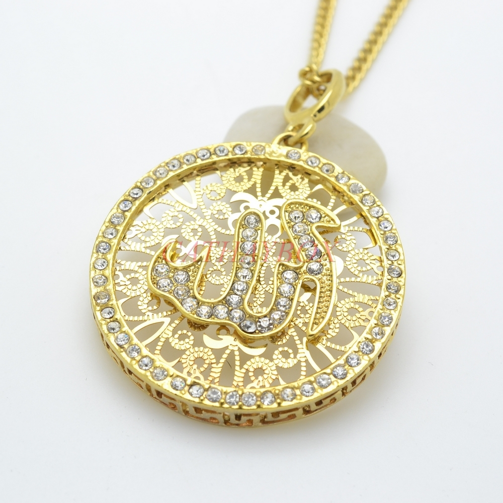 Ramadan jewelry 24kgp gold tone islamic god allah cz rould pendant ramadan jewelry 24kgp gold tone islamic god allah cz rould pendant necklace w chain 24 long gift for muslim in pendant necklaces from jewelry aloadofball Images