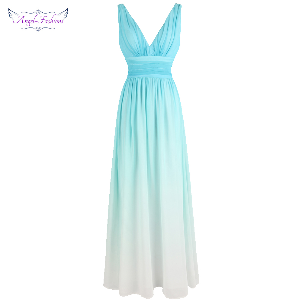 Angel-fashions Gradient Chiffon   Prom     Dresses   Pleat Formal Party Gown A-line BODA Sky Blue J-180514-S