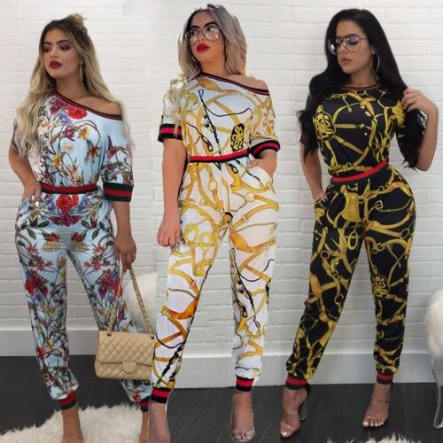 8db825d083 New Fashion Spring Autumn Casual Women 2 Pcs Outfits Sleeveless Floral  Print Crop Top Pants Set European Style Jumpsuit S-XXL