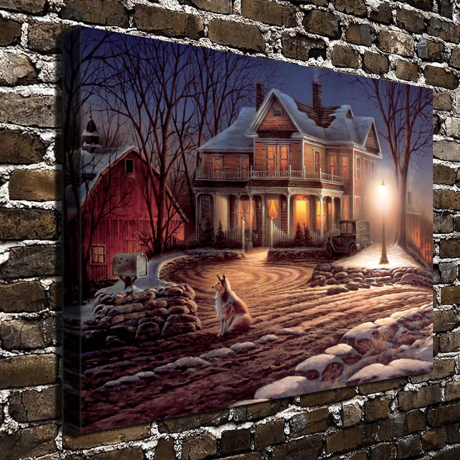 A764 Terry Redlin Lights Of Home Animal Scenery Hd Canvas