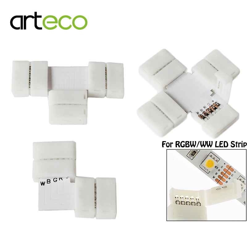 5pcs/lot 10mm 5PIN RGBW L type / X type / T shape No Soldering connector For 5050 RGBW / RGBWW LED strip 5PIN RGBW connector 10pcs 12mm 10mm 5 pin rgbww led strip connector free welding for smd 5050 rgbw led strip lights