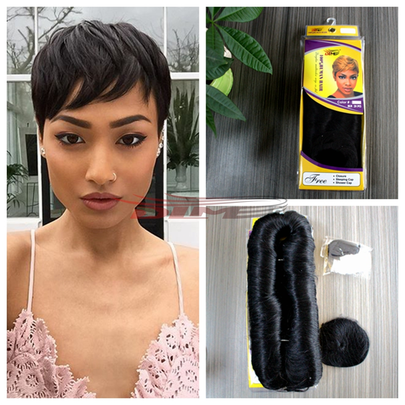 3pcs Short Hair Weave Real Virgin Human Hair Extension A Free