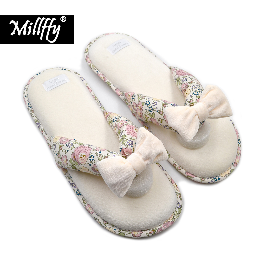 Millffy Summer SPA Thong Slipper japanese Floral slippers With Memory Foam Cushioning Indoor Outdoor Tread Outsole