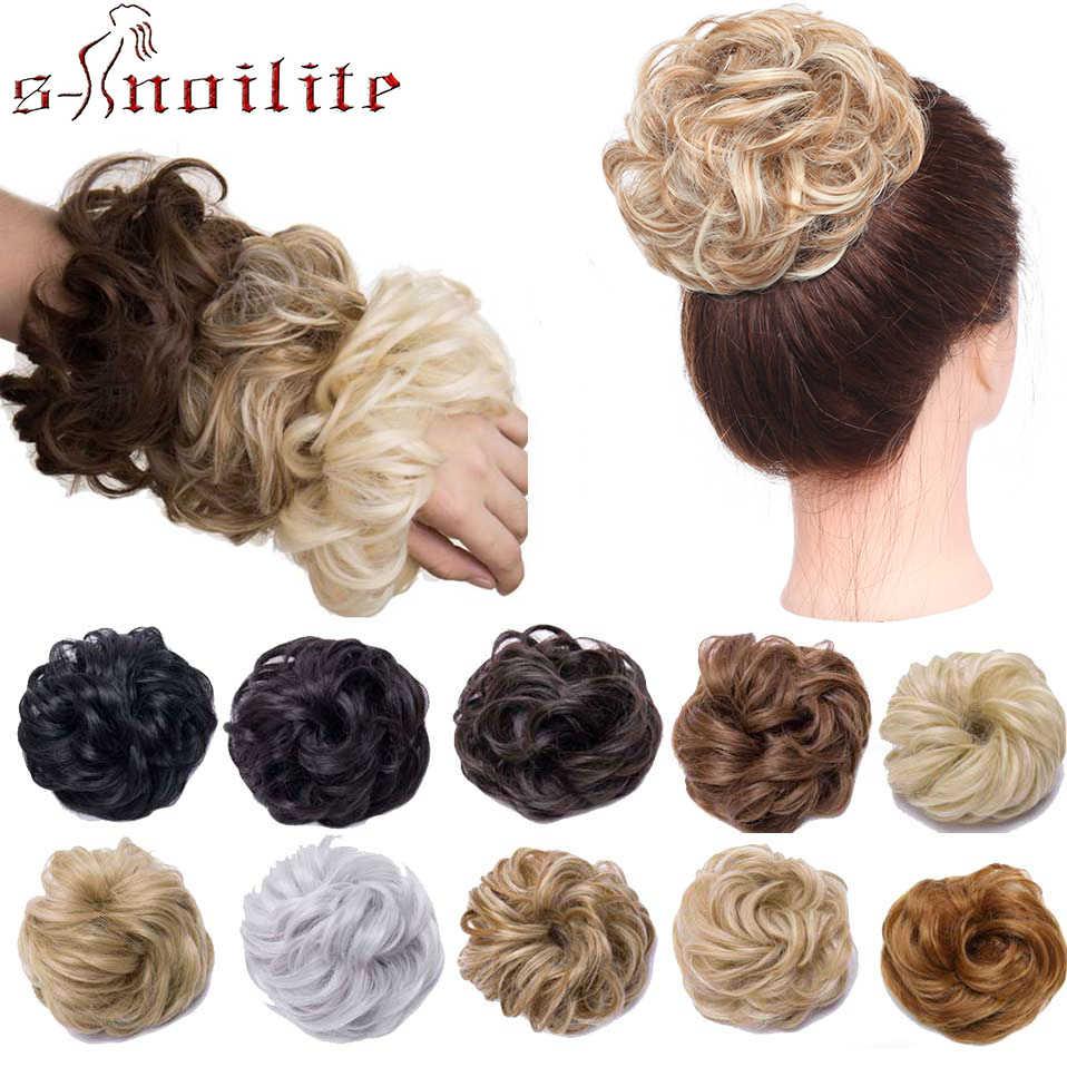 S-noilite 45 г толстые эластичные резинки для волос шиньон пончик булочки синтетические волосы для наращивания шиньон резинки обруч конский хвост