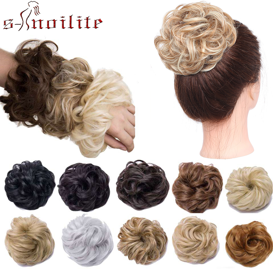 S-noilite Scrunchy Hair Bun Messy Elastic Hair Bands Donut Chignon Synthetic Hair Extension Rubber Bands Warp Ponytail Hairpiece
