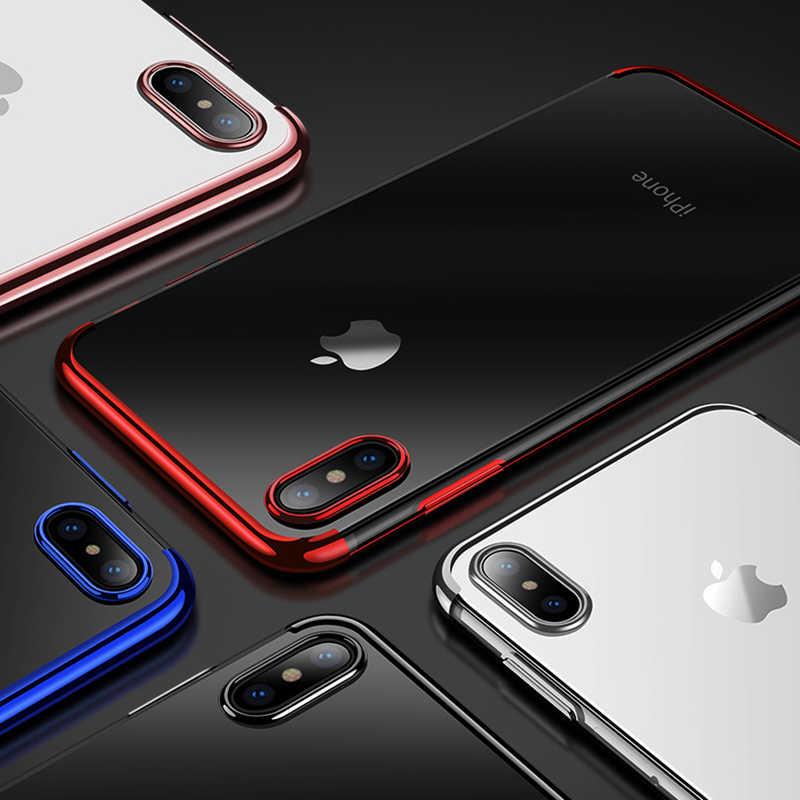 Smart Transparan Case untuk iPhone 7 8 6 6 S 6 S Plus X 10 10 11 Pro XS Max xr Plating Lembut Tpu Ponsel Tas Armor Cover