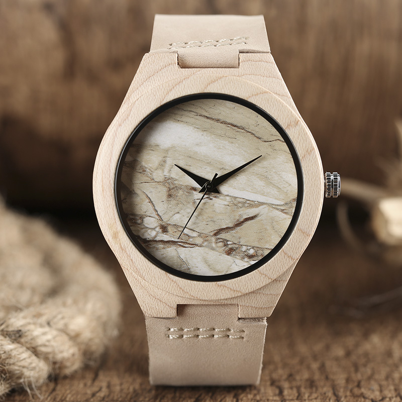 Marble Pattern Face Art Wooden Watch Minimalist Analog Style Natural Bamboo Clock Men and Women Quartz Sport Reloj de madera NEW 7 types hollow dial wooden watch creative natural whole wood adjustable band men s sport casual dress hour clock reloj de madera