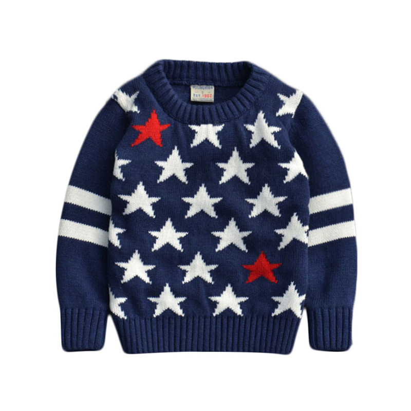 ФОТО Children Sweaters baby boys girls 100%Cotton warm sweater 2015 New  Autumn/winter Kids Pullover Solid Pullovers stars print