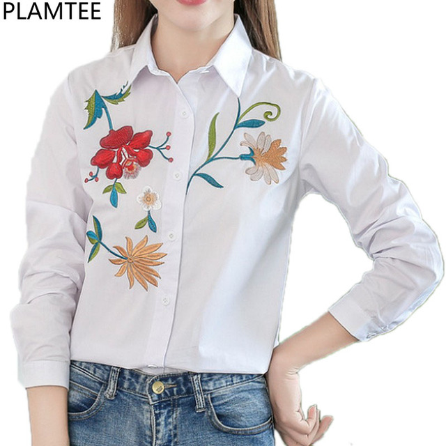 6846bf23a0 PLAMTEE-Broderie-Femmes-Tops-Fleur-Blouse-Casual-Manches-Longues-Femmes -de-Chemise-Blanc-Couleur-Bleu-Bande.jpg_640x640.jpg