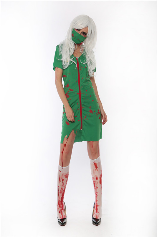 free shipping new adult women zombie scrub nurse uniforms cosplay fancy dress halloween party scary costume - Halloween Scrubs Uniforms