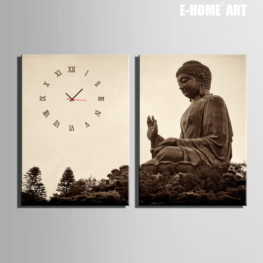 Free Shipping E-HOME Giant Buddha  Clock in Canvas 2pcs wall clock