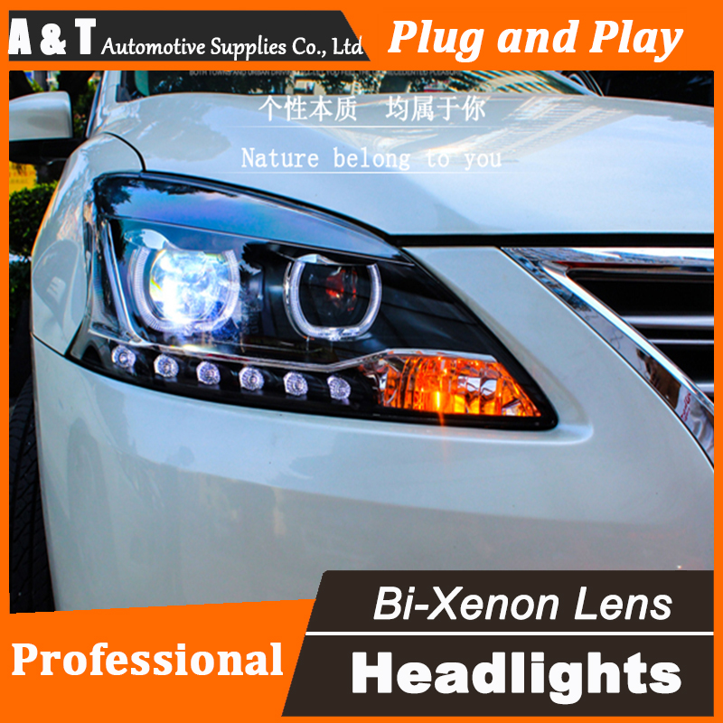 Car Styling Head Lamp for Nissan Sylphy Headlight assembly 2012-2015 LED Headlight DRL Bi Xenon Lens h7 with hid kit 2 pcs. headlamp polishing paste kit diy headlight restoration car plastic restore car head light motor cleaner renew lens polish kit