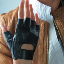 Genuine Leather Imported Goatskin Black Semi-Finger Street Dance Rock Punk Half Fingers Womans Gloves TB74-1